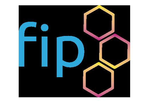 Ursprüngliche, farbenfrohe Version des Logos von FIP