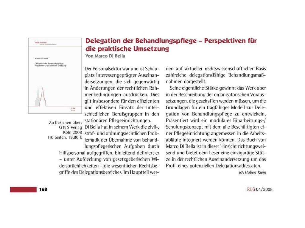 Delegation der Behandlungspflege (Rezension Hubert Klein)